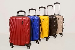 Yellow Blue Red Cream Black Poly Carbon Fibre Challenger Hard Luggage Bags