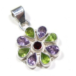 Multi Color Gemstone Sterling Silver Pendant