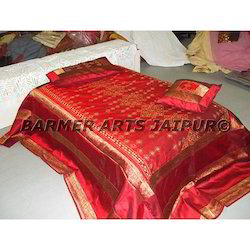 Designer Bed Cover Mirror Embroidery
