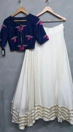 0ca0793a5 Party Wear Crop Top Long Skirt