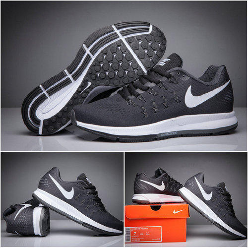 f59e09c60081 Men Nike Air Zoom Pegasus 33 Full Black Running Sport Shoes