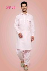 Pink Long Punjabi Cotton Kurta Pajamas With Patiala For Men, Size: 38-48