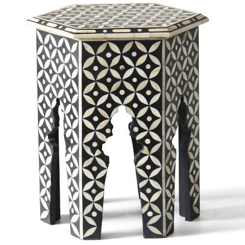 Beau Bone Inlay Hexagonal Table Black