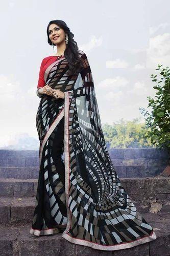 d13937f10b Black Georgette Printed Saree at Rs 570 /piece(s) | Saroli | Surat ...