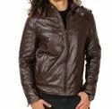 Brown Faux Leather Men Jacket