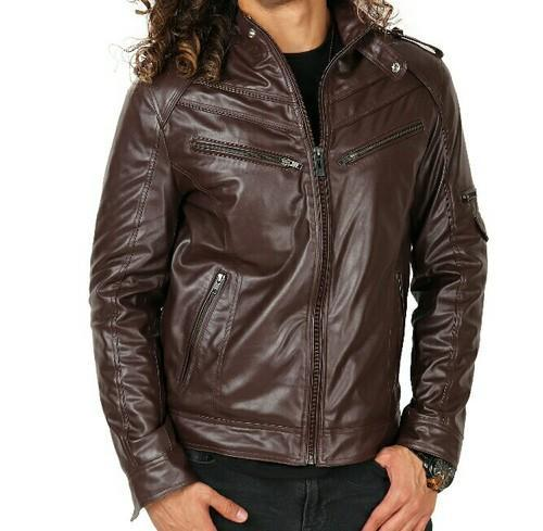 Brown Faux Leather Men Jacket