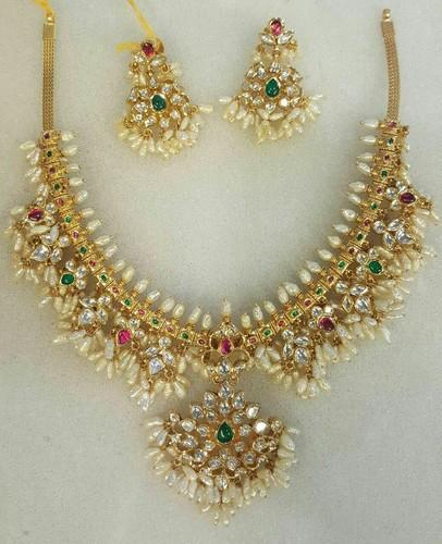 3521843a8df36 Golden Pearl, Polki Golden Moti Set, Sidhi Gem & Jewellery Creation ...