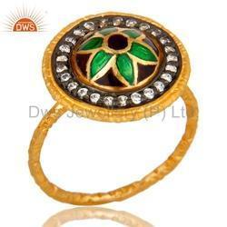 Gold Plated Silver Enamel CZ Ring