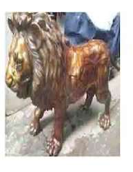 Brown Brass Lion Sculpture, Size/Dimension: 4 Feet X 7 Feet, for Exterior Decor