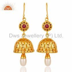Gold Plated Diamond Jhumka Earrings Jewelry