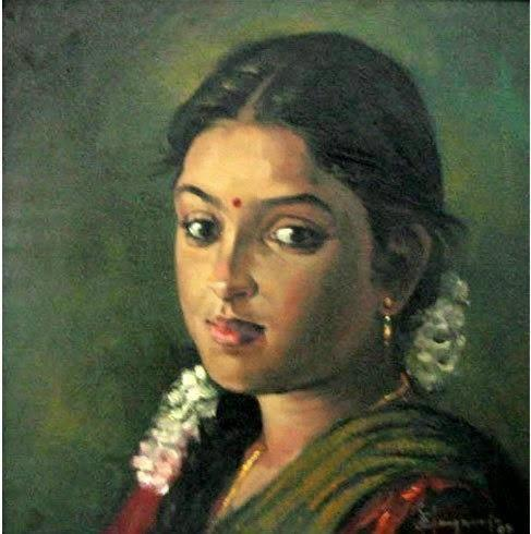 indian woman portraits by photographs portrait painting on canvas