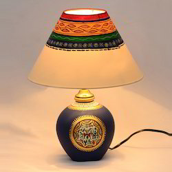 Terracotta lamp shade manufacturers suppliers in india warli matki handpainted table lamp in terracotta aloadofball Image collections