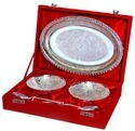 Silver Plated Tray Bowl Set