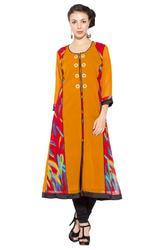 Multicoloured Printed Long Kurti Party Wear Kurti