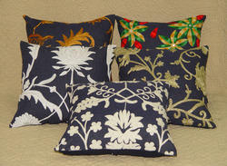 Denim Embroidered Cushion Cover