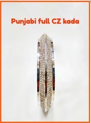 925 Sterling Silver Cz Punjabi Kada