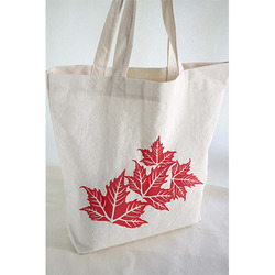 Flower Printed Canvas Tote Bags
