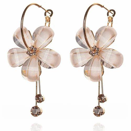 Fashion Hanging Hoop Earrings Flower White Stone For Women