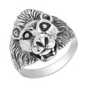 SHRI0359 Lion Head Shape Biker Silver Ring