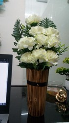 Hyperboles artificial white flower with beautiful vase