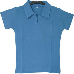 Blue Women Polo Neck T-Shirt