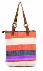 Handmade Big Size Leather Handle Vintage Carpet Style Bag