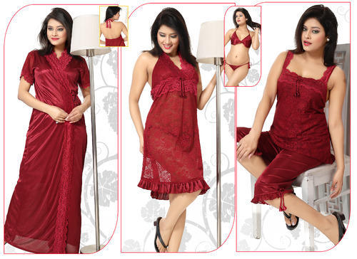 5179a96476 Red 5 Piece Night Suit Set