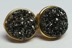 Black Marcasite Druzy Earring Stud