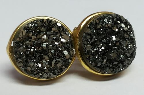 58450706f Black Marcasite Druzy Earring Stud, Size: 12 Mm, Rs 400 /pair | ID ...