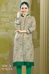 Beautiful Green Cotton Rayon Printed Kurtis
