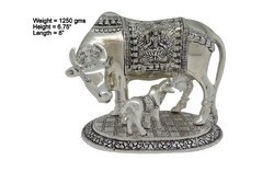 White Metal Cow and Calf Medium Big Statues
