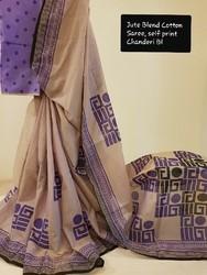 Mauve Casual Wear Block Printed Jute Blend Cotton Saree, Hand Made, 5.5 m (separate blouse piece)