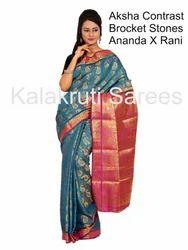 Kanchi Pattu Art Contrast Saree