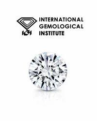 Real Round White IGI Certified Solitaire Diamond