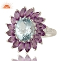Amethyst Blue Topaz Gemstone Sterling Silver Rings