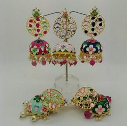 Traditional Handpainted Meena Jhumki