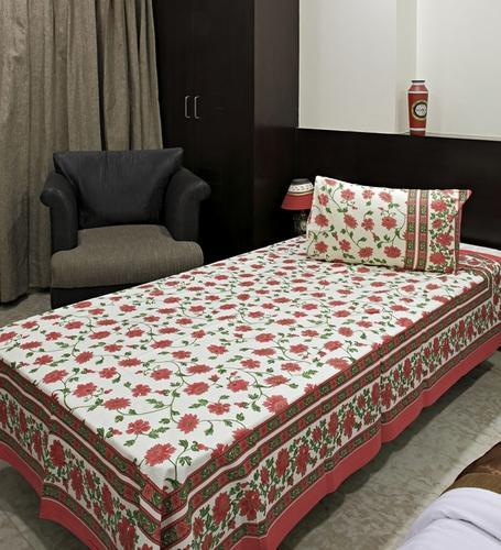 Pure Cotton Printed Cotton Single Bed Sheet, Size: Single Bedsheet