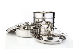 Stainless Steel Tiffing Carrier (Foods On Wheels) Traveling Set