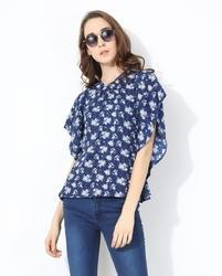 Polyester Casual Wear Printed Relaxed Fit Women Tops, Size: Xs To 5xl