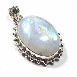 Rainbow Moonstone Silver Cabochon Pendant
