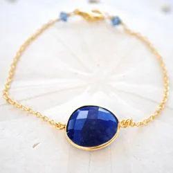 Lapis Gemstone Bezel Set Bracelet