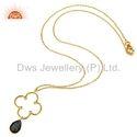 Clover Designer Gold Plated Gemstone Pendant