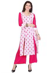 pink and white dreamy coloured rayon printed kurti