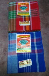 Blue and Red Pure Cotton Bath Towel Handloom Gamcha, Size: 32*68 inch