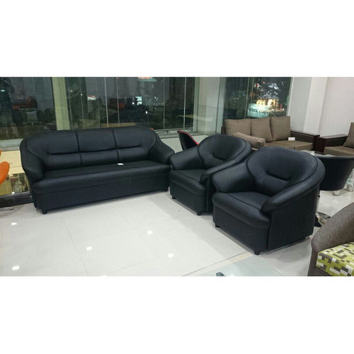 Black Leather Sofa Set At Rs 15000