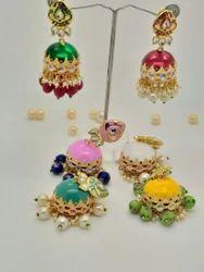 Jaipuri Designer Color Moti Meena Jhumka