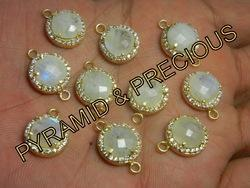 Rainbow Moonstone Connector with CZ