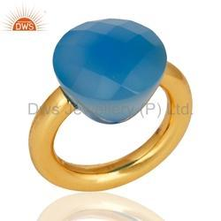 18k Gold On 925 Silver Blue Chalcedony Gemstone Statement Ring