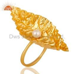 Natural Pearl Gemstone Gold Plated Ring