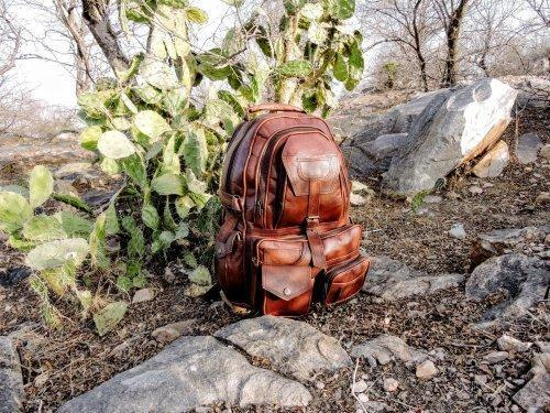 bf05efa649 Handicraft Villa Brown And Designer Leather Backpack Bag